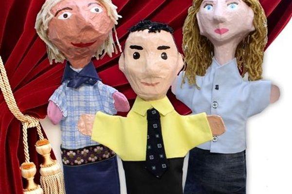 Agathe, Stéphanie et Benoît... L'équipe en version marionnettes.