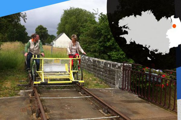 Catherine Carlier notre journaliste, et Philippe Roubidou pédalent sur les rails de la Brohinière