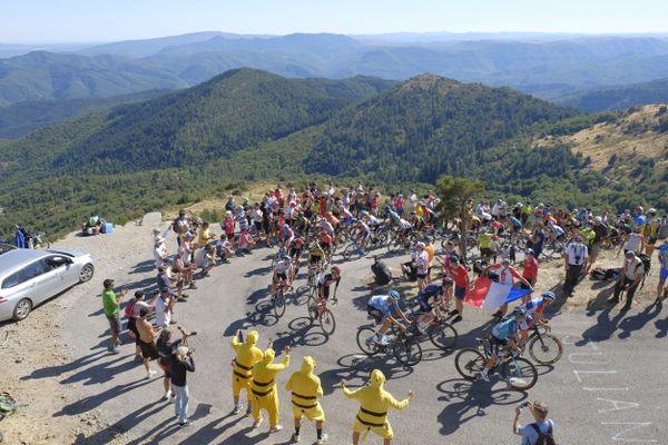 Ambiance lors du  passage du Tour de France au redoutable Col de la Lusette, dans les Cévennes gardoises, le 03 Septembre 2020.
