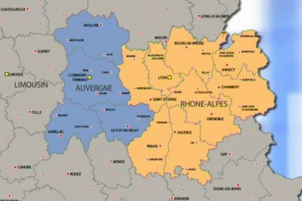 Les régions Auvergne et Rhône Alpes seront officiellement mariées le 1er janvier 2016.