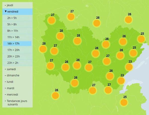 Les températures prévues vendredi après-midi par Météo France.
