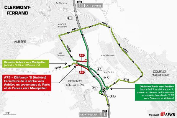 Jeudi 6 mai, la circulation sera déviée sur l'autoroute A75, au sud de Clermont-Ferrand.