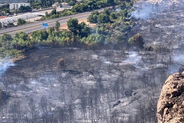 A proximité de l'A7 la zone de départ de l'incendie