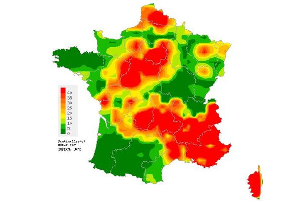 Carte d'interpolation spatiale des données établie par le Réseau Sentinelles