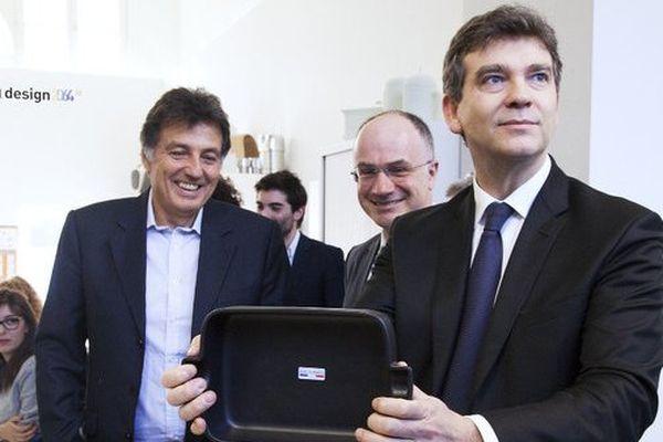 En janvier 2014, Arnaud Montebourg, alors ministre du Redressement Productif, avait rencontré le président d'Habitat France Herve Giaoui (à gauche sur la photo) pour saluer son initiative de faire fabriquer une partie de ses produits en France.