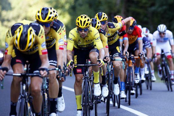 Primoz Roglic, lors de l'étape entre Lyon et Le Grand Colombier, le 13 septembre 2020.