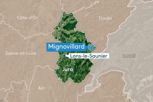 <p>Carte Mignovillard, Jura&nbsp;</p>