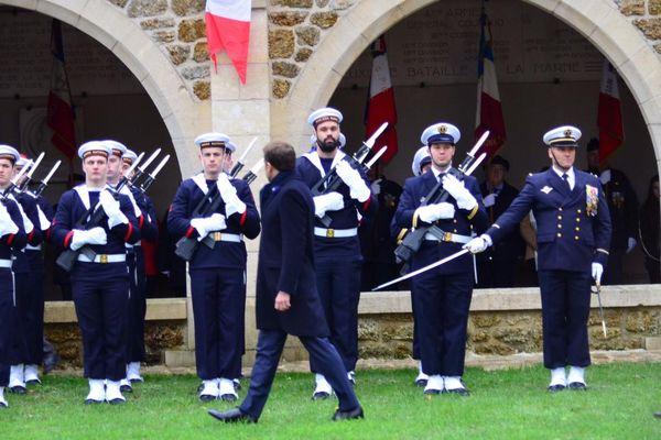 Emmanuel Macron au mémorial de Dormans, ce jeudi 14 novembre