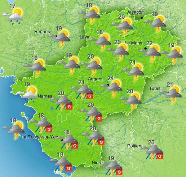 La Vendée est placé en vigilance orange pour les orages jusqu'au vendredi 12 à 6h