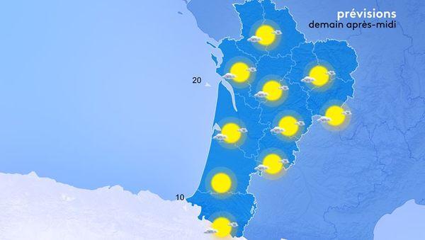 On retrouvera au lever du jour quelques nuages bas près des côtes basque et landaise. Ces nuages ne perdureront pas trop longtemps et seront assez peu étendus.