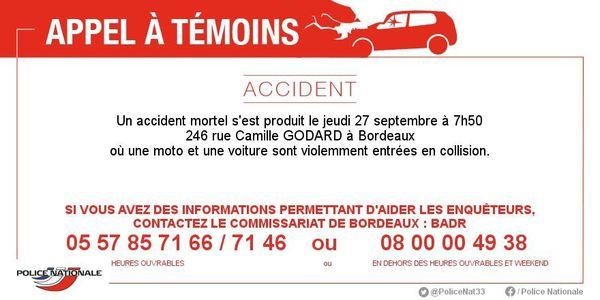 L'appel à témoins diffusé par la police de Bordeaux.