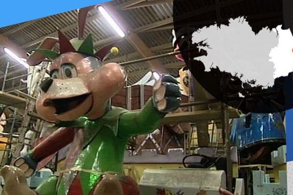 L'une des animations des chars du Carnaval de Vitré, préparée par l'association des Gai Lurons.