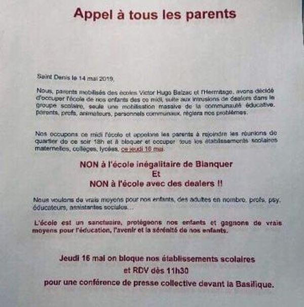 Un tract diffusé par les parents d'élèves du groupe scolaire Victor Hugo.