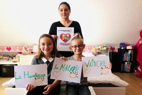 Aline Beuraud et ses deux filles Valentine et Noéline