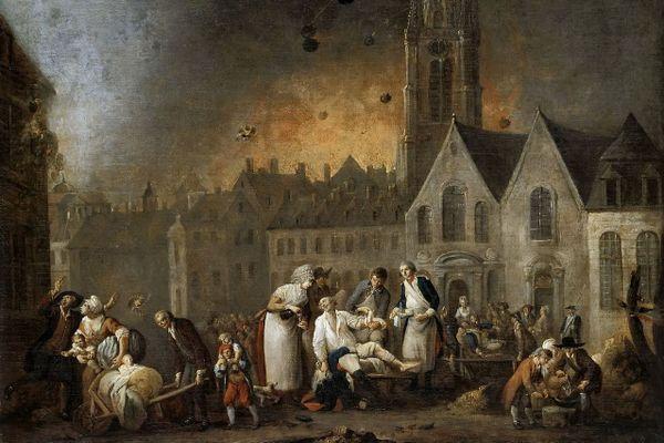 Le siège de Lille, en 1792, peint par Louis Joseph Watteau.a