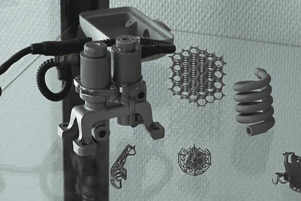 Pièces en métal fabriquées par impression en trois dimensions.