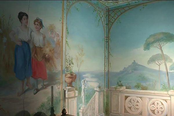 Les peintures murales d'un pavillon de jardin à Viviers, autre projet financé par le fonds d'aide