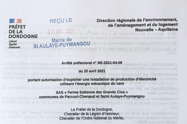 L'arrêté préfectoral d'autorisation qui révolte les opposants au projet d'éoliennes
