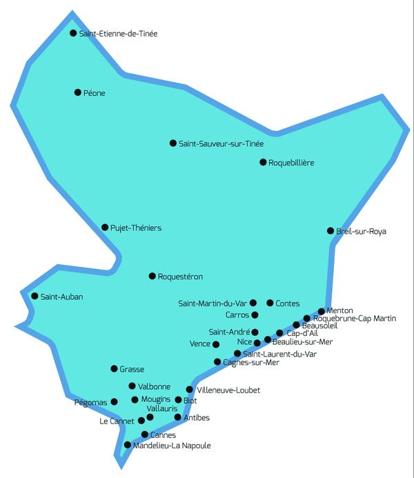 Les communes des Alpes-Maritimes équipées.