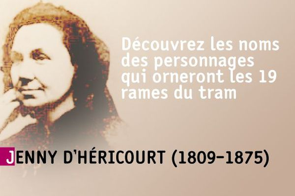Le nom de Jenny d'Héricourt apparaît sur les rames du tram de Besançon.