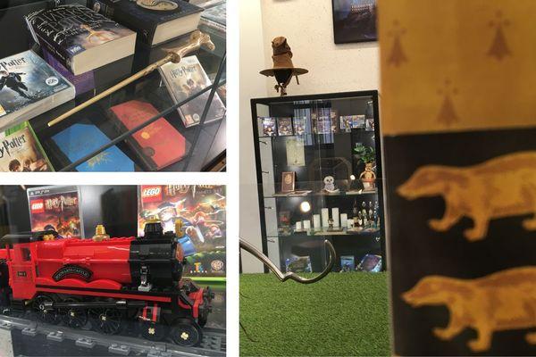 Accessoires, baguettes, livres, Legos... L'exposition est bien fournie.