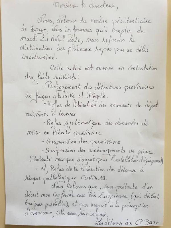 courrier adressé au directeur de la prison de Borgo