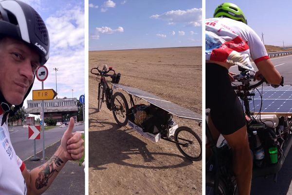 "Romain Neauport et son vélo lors du rallye ""The Sun Trip"""