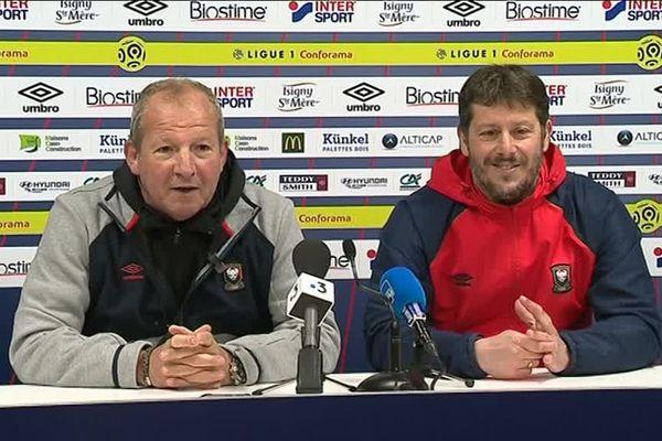 Le duo Courbis-Mercadal en conférence de presse ce jeudi avant le déplacement à Nîmes