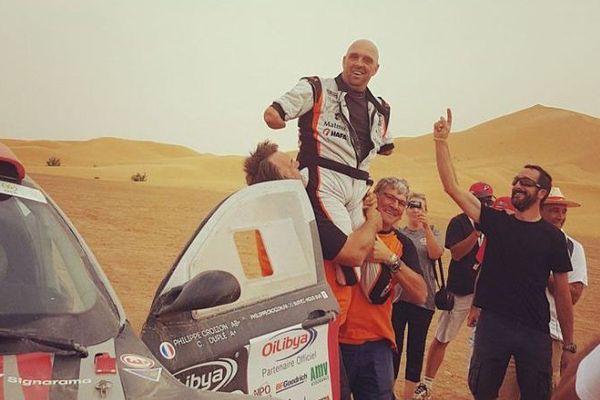 Philippe Croizon à l'arrivée du rallye du Maroc