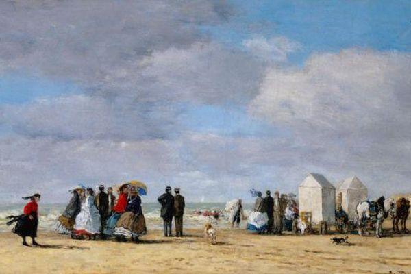 Eugène BOUDIN (1824-1898), La Plage à Trouville, 1865.