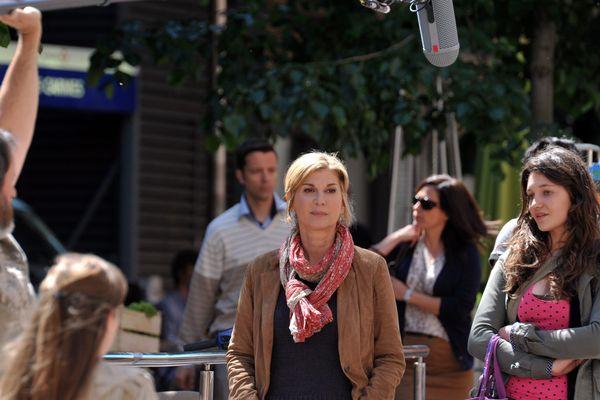 Tournage avec Michèle Laroque au marché des Carmes, à Toulouse