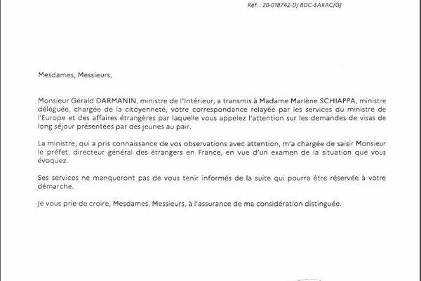 Ce courrier, daté du 19 novembre 2020, provient du ministère de l'Intérieur.