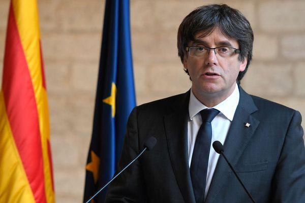 Barcelone - allocution de Carles Puigdemont, président de la Catalogne - 26 octobre 2017.