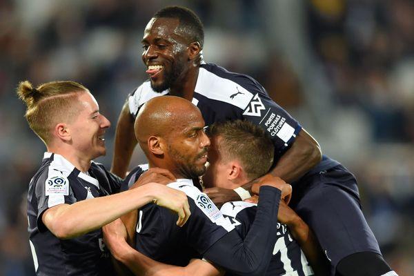Les Girondins heureux après leur victoire contre Marseille au Stade Matmut pour la 31e journée du championnat de ligue 1 le vendredi 4 avril 2019.
