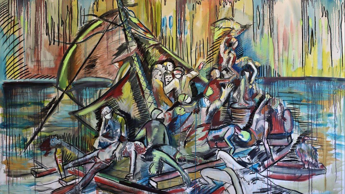 Coronavirus Covid 19 A Besancon L Artiste Kim Nezzar Revisite Le Radeau De La Meduse En Hommage Aux Soignants