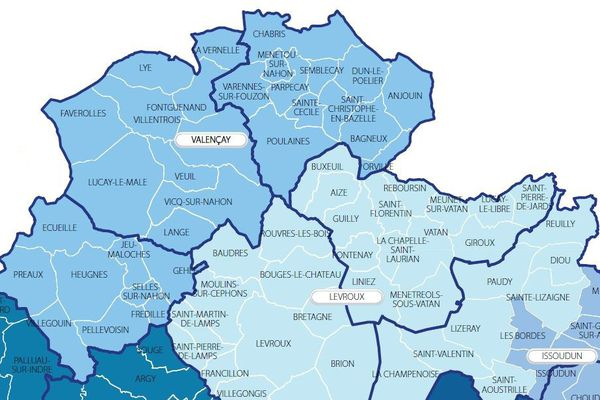Les cantons de Valençay et Levroux, dans l'Indre.
