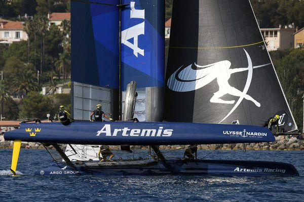 Vainqueurs de la coupe de l'America : les Suédois, bateau Artemis