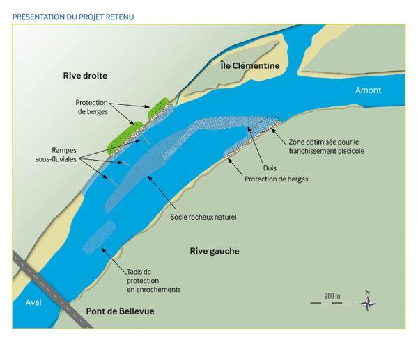 Les travaux prévus sur le secteur de Bellevue consiste à créer un ouvrage submersible appelé un duis.