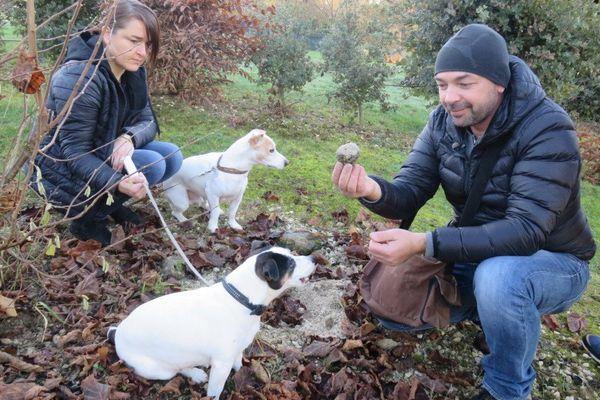 Isabelle et Christophe Meynard et leurs deux chiens chercheurs de truffes