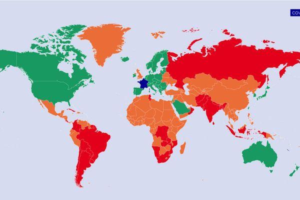 Pemerintah telah mengklasifikasikan negara-negara di dunia menurut tiga warna menurut status kesehatannya.  Inilah situasi dari 19 Juli.