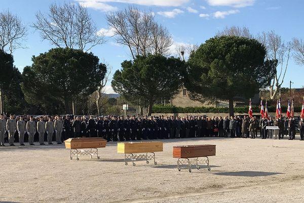 Ultime hommage officiel aux victimes, sur les lieux de l'attentat à Trèbes.