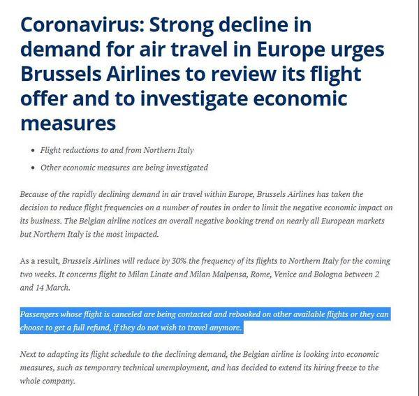 Communiqué de presse de la compagnie Brussels Airlines