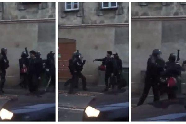 Sur cette vidéo, on voit un CRS frapper le jeune homme qui lui tourne le dos.