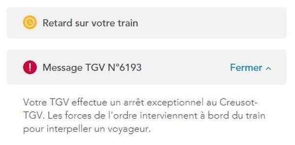 La compagnie confirme sur son site l'arrêt exceptionnel en gare du Creusot-TGV.