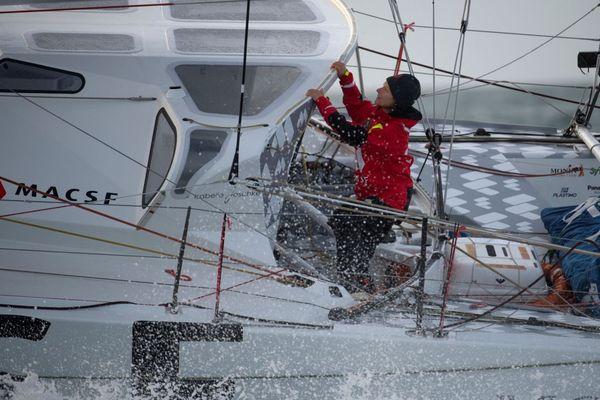 La Skipper franco-allemande Isabelle Joschke sur son voilier MACSF participant au Vendée Globe 2020-2021