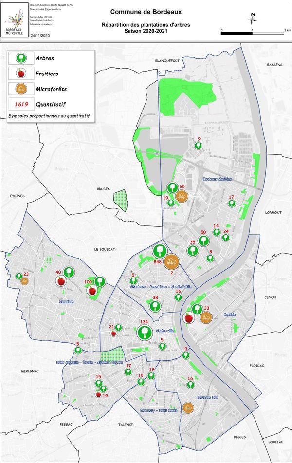 Répartition des plantations d'arbres sur Bordeaux en 202062021.