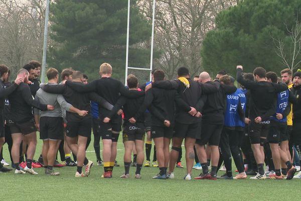 Les joueurs lors de l'entraînement du 6 janvier.