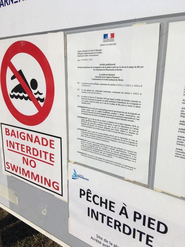 Baignade et pêche à pied interdite sur la plage du Ris pour la 5ème année