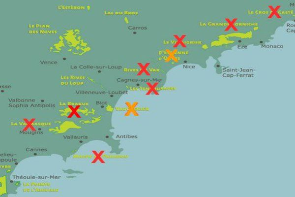 Carte des parcs fermés dans le 06 régulièrement mise à jour. Les croix orange sont pour les fermetures partielles.