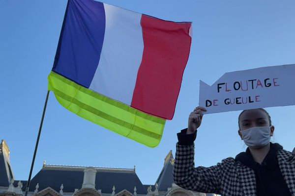 """""""floutage de gueule"""", la manifestante fait référence à l'article 24 de la loi sécurité globale qui prévoit l'interdiction dans certains cas de la diffusion d'images de forces de l'ordre en intervention."""